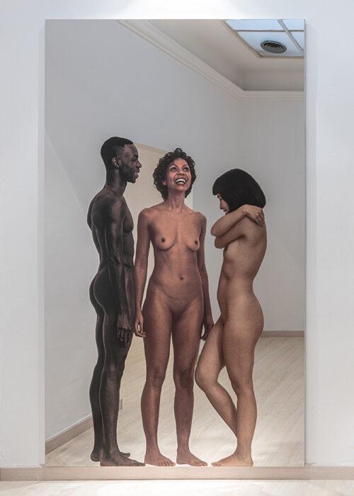 Michelangelo Pistoletto - Messa a nudo - I 2020, silkscreen on super mirror stainless steel, 250 x 150 cm, 98,42 x 59,05 in. Ph Ela Bialkowska, OKNO Studio